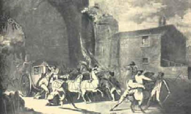 Arrestation de Louis XVI à Varennes - estampe du temps.JPG